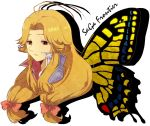 ahoge antenna_hair blonde_hair bug butterfly butterfly_wings hair_ribbon insect long_hair looking_away nakana profile ribbon saga saga_frontier solo wings