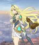 1boy 1girl bangs bare_shoulders blonde_hair blush breasts cleavage clouds dress earrings elbow_gloves gem gloves hair_ornament headpiece hikari_(xenoblade_2) jewelry large_breasts long_hair nintendo ooshima_aki open_mouth rex_(xenoblade_2) sky swept_bangs tiara very_long_hair white_dress xenoblade_(series) xenoblade_2 yellow_eyes