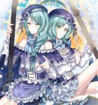 2girls alternate_hairstyle aqua_hair bang_dream! beret blue_bow blue_dress blue_hat blue_neckwear bow braid brooch center_frills constellation_hair_ornament constellation_print corset dress earrings electric_guitar frilled_dress frills frown green_eyes guitar hair_bow hair_over_shoulder hat hat_bow hikawa_hina hikawa_sayo index_finger_raised instrument jewelry long_hair long_sleeves looking_at_viewer multiple_girls neck_ribbon nennen parted_lips ribbon short_hair shoulder_cutout siblings single_braid sisters star twin_braids twins