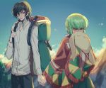 1boy 1girl backlighting backpack bag bangs black_hair black_legwear blue_sky blurry blurry_background blush c.c. cheese-kun closed_mouth clouds code_geass collared_shirt commentary_request covering_mouth cowboy_shot creayus day embarrassed green_hair hand_holding lelouch_lamperouge long_hair long_sleeves looking_at_another mountain outdoors shirt sky smile standing stuffed_toy tagme tree violet_eyes white_shirt yellow_eyes
