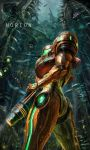 alien glowing glowing_eyes highres jungle leaf looking_back metroid metroid_prime metroid_prime_3:_corruption nature nintendo plant rain samus_aran spikes varia_suit vines water_drop zuma_(zuma_yskn)
