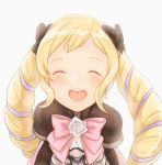1girl akina_(akn_646) black_bow blonde_hair bow closed_eyes cute earrings elise_(fire_emblem_if) fire_emblem fire_emblem_if hair_bow intelligent_systems jewelry long_hair multicolored_hair nintendo open_mouth pink_bow purple_hair simple_background smile solo twintails upper_body white_background
