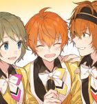 3boys ahoge aoi_kyousuke blue_eyes bob_cut braid brown_hair close-up closed_eyes gradient gradient_background green_eyes hairband hand_on_another's_shoulder idolmaster idolmaster_side-m looking_at_another male_focus mental_star_yellow microphone multiple_boys open_mouth orange_hair shirako_miso simple_background single_braid upper_body uzuki_makio wakazato_haruna yellow_background