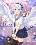3girls angel_wings black_legwear black_neckwear black_skirt blue_eyes blush bracelet breasts briefcase brown_hair cherry_blossoms company_name cross day eyebrows_visible_through_hair falkyrie_no_monshou green_eyes hair_ornament hat holding_briefcase jewelry long_hair looking_at_another looking_at_viewer medium_breasts multiple_girls natsumekinoko necktie official_art open_mouth outdoors railing sailor_collar sailor_hat short_hair short_sleeves skirt smile thigh-highs tree uniform white_hair white_hat wings x_hair_ornament