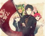 1girl 3boys :d :o black_choker black_hair black_robe blonde_hair blue_eyes brown_eyes choker crossed_arms flag gloves green_hair hand_up horns leaning_forward looking_at_viewer lynx_normansland multiple_boys open_mouth pixiv_fantasia_last_saga pointy_ears redhead rererenoren short_hair smile standing upper_body wide_sleeves yellow_eyes