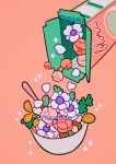 artist_name bowl cereal_box flower heart leaf meyoco no_humans original petals pink_background pink_flower simple_background sparkle spoon white_flower