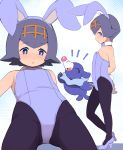 /\/\/\ 1girl alternate_costume animal_ears armpits arms_behind_back bangs bare_shoulders black_legwear blue_background blue_bow blue_eyes blue_footwear blue_hair blue_hairband blue_leotard blue_neckwear blush bow bowtie bright_pupils brown_hairband bunny_tail bunnysuit commentary_request creatures_(company) detached_collar eyebrows_visible_through_hair fake_animal_ears fake_tail flat_chest from_below from_side game_freak garoudo_(kadouhan'i) gen_7_pokemon gloves gluteal_fold hairband high_heels leotard looking_at_viewer looking_down looking_to_the_side multiple_views nintendo pantyhose pokemon pokemon_(creature) pokemon_(game) pokemon_sm popplio profile rabbit_ears short_hair strapless strapless_leotard suiren_(pokemon) tail two-tone_background white_background white_gloves
