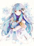 1girl blue_hair closed_mouth fire_emblem fire_emblem:_rekka_no_ken highres long_hair mamkute ninian nintendo red_eyes smile snowflakes solo twitter_username upper_body yuuri_(114916)