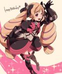 1girl ataka_takeru black_bow black_gloves blonde_hair bow dress elise_(fire_emblem_if) fire_emblem fire_emblem_if full_body gloves hair_bow happy_birthday long_hair long_sleeves multicolored_hair nintendo open_mouth pink_bow purple_hair solo twintails violet_eyes