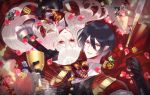 1boy 1girl black_gloves black_hair brooch buttons cape coin cup flower gem glint gloves hair_between_eyes jewelry kazenagi_hikari long_hair looking_at_viewer lying on_back petals pixiv_fantasia_last_saga red_cape red_eyes see-through sword vampire vector_guild_chief very_long_hair weapon white_hair