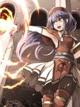 1girl armpits belt blue_eyes blue_hair book dated dress fire fire_emblem fire_emblem:_fuuin_no_tsurugi flame hat highres holding holding_book kazaguruma lilina long_hair nintendo open_mouth outstretched_arm pantyhose pointing pointing_forward red_hat solo twitter_username