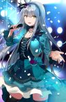 1girl asato_(fadeless) bang_dream! bow choker dress earrings eyebrows_visible_through_hair feathers flower frills gem gothic_lolita hair_ribbon hairband highres holding holding_microphone jacket jewelry lolita_fashion lolita_hairband long_hair microphone minato_yukina necklace open_mouth pearl_(gemstone) ribbon rose silver_hair solo spotlight stage thigh-highs yellow_eyes zettai_ryouiki