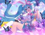 1girl animal_ears aqua_eyes aqua_hair basket bug butterfly clouds collar easter easter_egg egg floating_hair flower gloves hair_between_eyes hatsune_miku insect lavender_(flower) lim_jaejin long_hair looking_at_viewer midriff navel open_mouth outdoors petals rabbit_ears single_thighhigh sky solo swing swinging thigh-highs twintails very_long_hair vocaloid white_gloves white_legwear