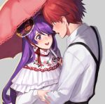 1boy 1girl aether_sage_(elsword) aisha_(elsword) blush calligraphy_brush elsword elsword_(character) hat highres knight_emperor_(elsword) lolita_fashion long_hair mini_hat on_(isk1812) paintbrush purple_hair red_eyes redhead short_hair smile umbrella violet_eyes