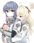 2girls absurdres angel_beats! armor bangs black_hair blonde_hair brown_eyes closed_mouth collared_shirt eyebrows_visible_through_hair hair_between_eyes hair_ornament hair_ribbon highres holding hug key_(company) long_hair long_sleeves looking_at_viewer multiple_girls object_hug open_eyes ribbon scared scarf school_uniform shiina_(angel_beats!) shirt short_sleeves simple_background speech_bubble stuffed_animal stuffed_toy teddy_bear translation_request twintails white_background white_shirt yusa_(angel_beats!) zuzuhashi