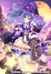1girl :d black_sleeves blue_hair boots bow broom broom_riding brown_footwear choker clouds corset detached_sleeves eyebrows_visible_through_hair floating_hair full_body full_moon hair_between_eyes hand_in_hair hat hat_bow long_hair long_sleeves looking_at_viewer miniskirt moon nozomi_fuuten open_mouth outdoors pleated_skirt ponytail print_sleeves pumpkin_hat_ornament purple_bow purple_headwear purple_sky shoe_soles skirt sky smile solo star_(sky) starry_sky striped striped_legwear thigh-highs very_long_hair violet_eyes white_bow white_skirt wide_sleeves witch_hat wixoss