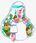 1girl artist_name cropped_torso expressionless flower leaf liquid long_hair meyoco original pink_eyes pink_flower shirt short_sleeves simple_background solo traditional_media transparent upper_body watercolor_(medium) watermark white_background white_shirt