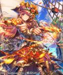 asano_shiki blush breasts brown_hair closed_mouth clouds copyright_name flower gun hair_flower hair_ornament hat holding holding_weapon japanese_clothes long_hair long_sleeves looking_at_viewer official_art original pink_eyes pirate pirate_hat rope sengoku_saga sky weapon