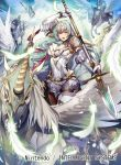 1girl armor breastplate cape commentary_request company_connection copyright_name dress elbow_gloves feathered_wings feathers fire_emblem fire_emblem:_souen_no_kiseki fire_emblem_cipher gloves green_eyes green_hair headpiece holding holding_weapon horns long_hair looking_at_viewer nagahama_megumi nintendo official_art open_mouth pegasus pegasus_knight polearm short_dress short_sleeves shoulder_armor sigrun spear weapon white_gloves wings