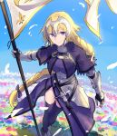 1girl armor armored_dress blonde_hair braid capelet fate/apocrypha fate/grand_order fate_(series) faulds flag gauntlets headpiece jeanne_d'arc_(fate) jeanne_d'arc_(fate)_(all) long_braid long_hair menma222 plackart single_braid smile solo standard_bearer thigh-highs very_long_hair violet_eyes