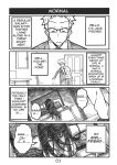 1boy 1girl 4koma black_hair breasts coat comic english_text glasses large_breasts long_hair monochrome necktie original peach_(momozen) spiky_hair television the_ring yamamura_sadako