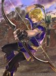 1boy arrow belt blonde_hair boots bow_(weapon) castle clouds faceless faceless_male fingerless_gloves fire_emblem fire_emblem:_fuuin_no_tsurugi fire_emblem_cipher gloves helmet horse klein_(fire_emblem) male_focus nintendo official_art open_mouth quiver sky solo suzuki_rika teeth violet_eyes weapon