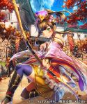 2boys asano_shiki bangs blush bow bow_(weapon) breasts brown_hair building closed_mouth clouds copyright_name flower green_eyes hair_flower hair_ornament holding holding_bow_(weapon) holding_weapon japanese_clothes long_hair long_sleeves looking_at_viewer multiple_boys official_art original sengoku_saga sky standing thigh-highs tree weapon
