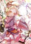 1girl animal_ears ash_blossom_&_joyous_spring bird bird_on_hand blonde_hair blurry cherry_blossoms dappled_sunlight day depth_of_field duel_monster hair_ribbon japanese_clothes kanaria_(fuusenkazura) kimono open_mouth pink_scarf ribbon scarf short_hair short_kimono sitting sleeves_past_wrists smile solo sunlight wide_sleeves yellow_eyes yokozuwari yu-gi-oh!