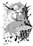 1girl against_tree aki_shizuha black_footwear blackcat_(pixiv) dated dress greyscale hair_ornament holding holding_leaf leaf leaf_hair_ornament leaf_on_head long_sleeves monochrome shoes short_hair sitting smile socks touhou tree tree_trunk white_background white_legwear
