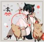 1boy 2019 animal_ears black_eyes black_hair chinese_zodiac fang grin high_heels japanese_clothes looking_at_viewer male_focus mole mole_under_mouth morino_bambi new_year original pig smile twitter_username year_of_the_pig