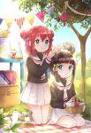 2girls card_captor_sakura cosplay daidouji_tomoyo daidouji_tomoyo_(cosplay) head_wreath kazehana_(spica) kero kero_(cosplay) kinomoto_sakura kinomoto_sakura_(cosplay) kurosawa_dia kurosawa_ruby love_live! love_live!_sunshine!! multiple_girls ohara_mari picnic picnic_basket school_uniform tomoeda_elementary_school_uniform