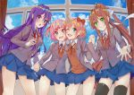 4girls :d :o ;d black_legwear blue_eyes blue_skirt blue_sky bow brown_hair clouds commentary day doki_doki_literature_club english_commentary eyebrows_visible_through_hair green_eyes grey_jacket hair_bow hair_ribbon hand_holding indoors interlocked_fingers jacket long_hair looking_at_viewer monika_(doki_doki_literature_club) multiple_girls natsuki_(doki_doki_literature_club) one_eye_closed open_clothes open_jacket open_mouth pink_eyes pink_hair pleated_skirt ponytail purple_hair red_bow ribbon sayori_(doki_doki_literature_club) school_uniform short_hair skirt sky smile thigh-highs two_side_up very_long_hair violet_eyes white_ribbon window xhunzei yuri_(doki_doki_literature_club)