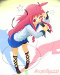 1girl angel_beats! ankle_lace-up bangs blue_skirt cross-laced_footwear cuffs emblem eyebrows_visible_through_hair full_body hair_ornament highres holding key_(company) leg_ribbon long_hair long_sleeves looking_at_viewer microphone music open_eyes open_mouth pink_eyes pink_hair ribbon rutinium school_uniform serafuku shirt simple_background singing skirt sleeve_cuffs solo star tail thigh_strap twintails v very_long_hair white_shirt yui_(angel_beats!)