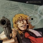 1boy blonde_hair brown_eyes eye_contact facing_viewer formal fuse_(saga_frontier) gloves gun hair_between_eyes handgun holding holding_gun holding_weapon long_hair looking_at_another looking_at_viewer nakajima_hiroshi necktie red_neckwear saga saga_frontier solo suit traditional_media weapon