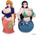 2girls absurdres arm_at_side artist_name bangs bare_arms bare_shoulders belt bikini_top black_hair breasts brown_eyes cleavage closed_mouth collarbone collared_jacket commentary cosplay costume_switch cowboy_shot crop_top cropped_jacket curvy english_commentary eyebrows_visible_through_hair eyes_visible_through_hair grey_eyes groin hand_on_hip hand_up high_collar highres hip_focus huge_breasts long_hair looking_at_another looking_to_the_side midriff multiple_girls nami_(one_piece) nami_(one_piece)_(cosplay) navel nico_robin nico_robin_(cosplay) one_piece orange_hair pants short_sleeves sidelocks simple_background skindentation smile stomach superix very_long_hair white_background wide_hips