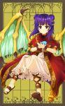 1girl closed_mouth dragon_wings dress fire_emblem fire_emblem:_seima_no_kouseki full_body fuussu_(21-kazin) highres holding mamkute multi-tied_hair myrrh nintendo purple_hair red_eyes solo stone twintails wings wristband