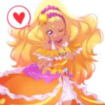 1girl ;) amamiya_erena blonde_hair choker closed_mouth collarbone commentary_request cure_soleil dark_skin earrings eyebrows heart highres jewelry long_hair looking_at_viewer magical_girl nijigami_rin one_eye_closed precure purple_choker purple_earrings simple_background smile solo spoken_heart star star_twinkle_precure violet_eyes white_background wrist_cuffs