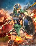 aqua_eyes aqua_hair armor boots breastplate commentary_request company_connection copyright_name fire fire_emblem fire_emblem:_souen_no_kiseki fire_emblem_cipher helmet holding holding_shield holding_weapon house knee_boots long_hair nephenee night nij_24 nintendo official_art open_mouth outdoors polearm shield short_sleeves shoulder_armor skirt solo spear thigh_strap torn_clothes torn_skirt weapon