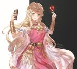 1girl absurdres artist_name azto_dio bead_necklace beads belt black_background black_belt blonde_hair blush bracelet breasts cape circlet commentary cowboy_shot dated dress earrings english_commentary green_eyes hands_up heart highres holding jewelry long_hair looking_at_viewer medium_breasts necklace nintendo pauldrons pink_dress pointy_ears princess_zelda sheikah_slate short_sleeves sidelocks signature smile solo standing super_smash_bros. tabard the_legend_of_zelda the_legend_of_zelda:_a_link_between_worlds the_legend_of_zelda:_a_link_to_the_past triforce two-tone_background very_long_hair white_background white_cape white_dress