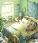 alarm_clock artist_name bear bed bedroom black_eyes blanket blush book bookshelf chair clock curtains day desk eyewear_removed glasses indoors lamp looking_away no_humans original pillow plant polar_bear potted_plant signature slippers slippers_removed st.kuma