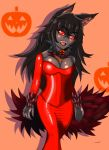 1girl animal_ears atuba black_hair black_sclera black_skin breasts claws collar dark_skin dress eyebrows_visible_through_hair fang fur hair_between_eyes halloween halloween_costume hellhound highres jewelry latex long_hair monster_girl_encyclopedia necklace open_mouth orange_background pumpkin red_dress red_eyes red_legwear ring spiked_collar spikes tail tongue wolf_ears wolf_girl wolf_tail