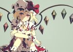 1girl blonde_hair bloomers bow closed_mouth dise eyebrows_visible_through_hair feet_out_of_frame fingernails flandre_scarlet hair_bow hat hat_bow hat_ribbon highres knees_up legs looking_at_viewer medium_hair nail_polish puffy_sleeves red_eyes red_nails red_ribbon red_skirt red_vest ribbon simple_background sitting skirt smile solo touhou underwear vest white_bloomers white_headwear white_legwear wings wrist_cuffs yellow_bow