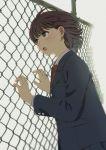 1girl blush brown_hair chain-link_fence fence holding mattaku_mousuke open_mouth original school_uniform short_hair simple_background solo