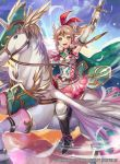 1girl arm_up armor bangs belt blonde_hair blue_sky boots braid breastplate cape clouds commentary_request company_connection copyright_name day dress elbow_gloves emma_(fire_emblem) feathers fire_emblem fire_emblem_cipher gloves headpiece holding holding_sword holding_weapon horn knee_boots long_hair looking_at_viewer matsurika_youko nintendo official_art open_mouth outdoors pegasus pegasus_knight short_dress shoulder_armor sky smile solo sword thigh-highs weapon white_legwear yellow_eyes