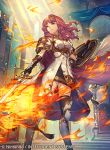 1girl arm_guards armor armored_boots bangs black_gloves black_legwear boots breastplate cape celica_(fire_emblem) closed_mouth commentary_request company_connection copyright_name dress fingerless_gloves fire fire_emblem fire_emblem_cipher fire_emblem_echoes:_mou_hitori_no_eiyuuou gloves holding holding_shield holding_sword holding_weapon indoors jewelry long_hair nintendo official_art red_eyes redhead shield short_sleeves standing sword thigh-highs umiu_geso weapon zettai_ryouiki
