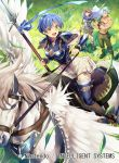 1girl 2boys arm_guards armor bangs bare_shoulders blue_eyes blue_hair breastplate cape commentary_request company_connection copyright_name crossed_arms day dieck fire_emblem fire_emblem:_fuuin_no_tsurugi fire_emblem_cipher grass green_hair headband holding holding_weapon multiple_boys muscle nagahama_megumi nintendo official_art open_mouth outdoors pants pegasus pegasus_knight polearm redhead roy_(fire_emblem) scar short_hair short_sleeves shoulder_armor skirt smile spear thany_(fire_emblem) thigh-highs weapon white_skirt zettai_ryouiki