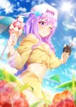 1girl bangs baseball_cap bb_(fate)_(all) bb_(swimsuit_mooncancer)_(fate) beach beach_umbrella blue_sky breasts cleavage cropped_jacket fate/extra fate/extra_ccc fate/grand_order fate_(series) flower food hat highres ice_cream ice_cream_cone jacket large_breasts licking_lips long_hair looking_at_viewer maze_yuri midriff ocean one_eye_closed purple_hair skirt sky solo sunlight tongue tongue_out umbrella very_long_hair violet_eyes yellow_jacket yellow_skirt