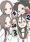 4girls absurdres black_eyes black_hair black_sailor_collar brown_eyes brown_hair glasses hair_ornament highres karakai_jouzu_no_takagi-san kunoichi_tsubaki_no_mune_no_uchi long_hair looking_at_viewer multiple_girls ninja number open_mouth ponytail sailor_collar school_uniform serafuku shirt short_hair simple_background smile takagi-san tenkawa_yukari tsubaki_(kunoichi_tsubaki_no_mune_no_uchi) white_background yamamoto_souichirou