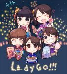 5girls :> ^_^ bangs black_hair blue_kimono blush_stickers brown_hair candy_apple closed_eyes closed_eyes cotton_candy fang fireworks floral_print food grin hair_ornament hands_on_own_cheeks hands_on_own_face holding holding_food japanese_clothes kanzashi kimono komatsu_mikako mikami_shiori multiple_girls obi one_eye_closed ookubo_rumi plaid_kimono ponytail real_life sash seiyuu side_ponytail sidelocks skewer smile squid striped striped_kimono takamori_natsumi taneda_yuuta uesaka_sumire
