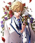 1boy arthur_pendragon_(fate) blue_flower blue_neckwear blue_rose coat fate/grand_order fate_(series) floral_arch flower formal green_eyes hair_between_eyes highres holding holding_flower looking_at_viewer male_focus necktie osanai purple_flower purple_rose red_flower red_rose rose shadow smile solo striped suit vertical_stripes vest white_flower white_rose white_rose_(fate/grand_order) white_suit